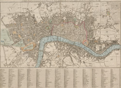 A new plan of London with the names of the streets alphabetically arranged at bottom with directions to find them in the map